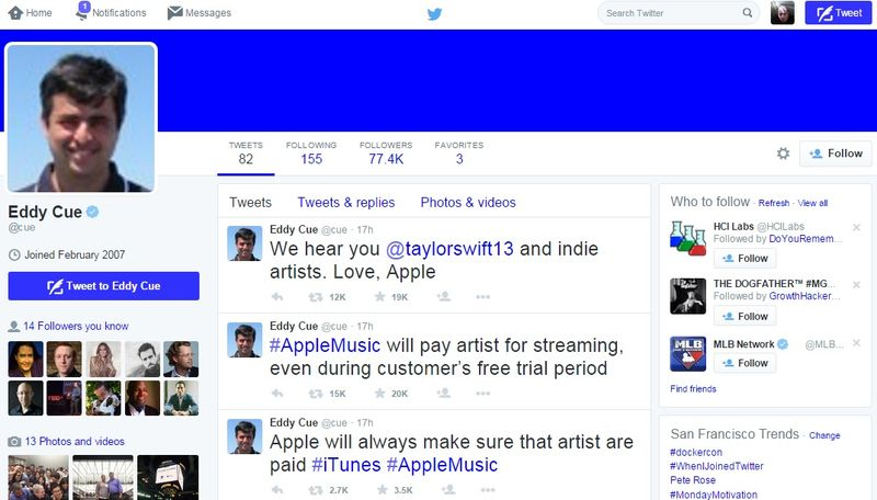 Apple's Eddy Cue announced on Twitter that music artists would be paid for their music