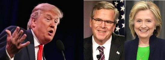 Donald Trump, Jeb Bush and Hillary Clinton