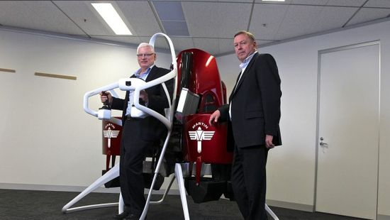 Martin Jetpack inventor Glenn Martin shows off the machine with Martin Aircraft CEO Peter Coker, right. Mr Coker said the jetpacks have been built to fit in with US and New Zealand aviation standards. Ben Rushton-AFR