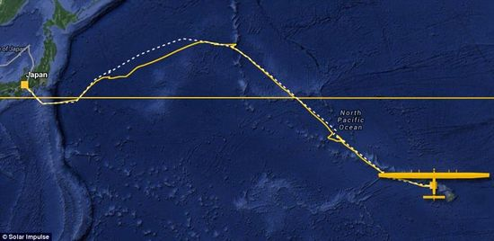 This was the second attempt at crossing the Pacific after the the first attempt was aborted due to bad weather. This map shows the actual route taken by the Solar Impulse 2 to Hawaii in yellow