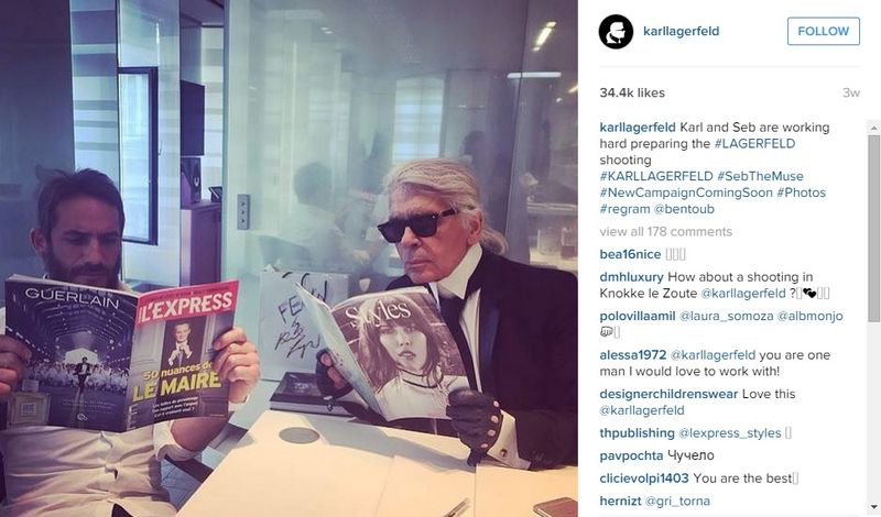 Karl Lagerfeld seen without his Apple Watch