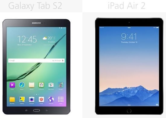 Samsung Galaxy Tab S2 vs Apple iPad Air 2 (front view)