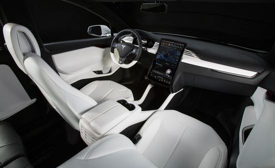 Tesla Model X all-electric SUV interior showing touchscreen console 2