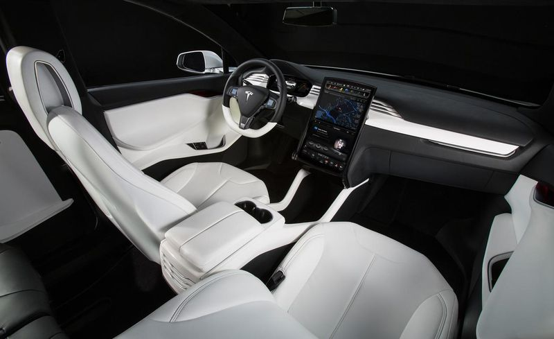 Tesla Model X All Electric Suv Interior Showing Touchscreen Console 2