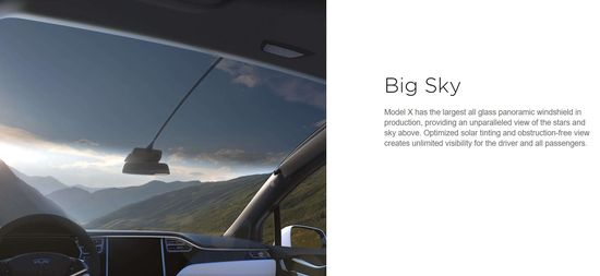 Tesla Model X all-electric SUV has largest vehicle front windshield in production providing incredible panoramic views