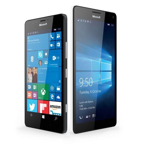 Lumia 950 and Lumia 950 XL running Windows 10 mobile