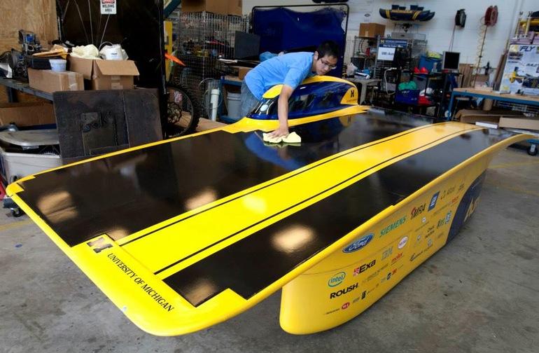 The University of Michigan's Aurum solar car features an asymmetrical catamaran body 1