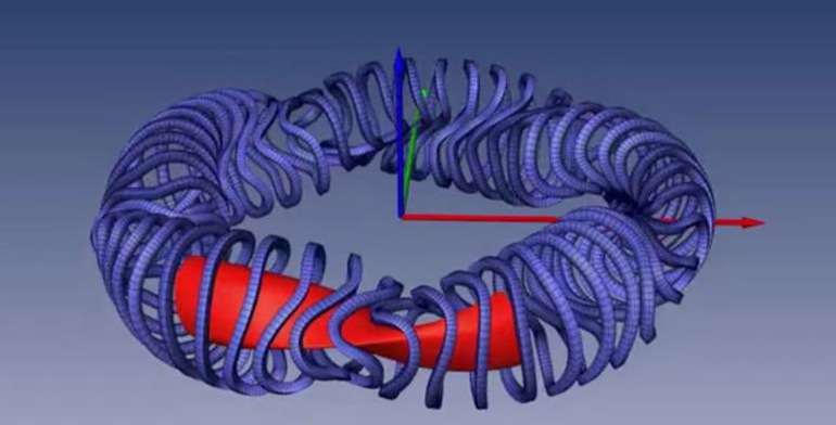 MPI5 - A graphic depicting the plasma flow (red) in the stellarator and its magnetic coils (blue)