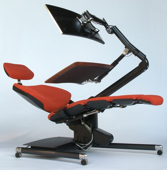 The new Altwork Station, designed by aerospace engineers, has a standing and sitting position. But it also reclines fully into a zero-g position