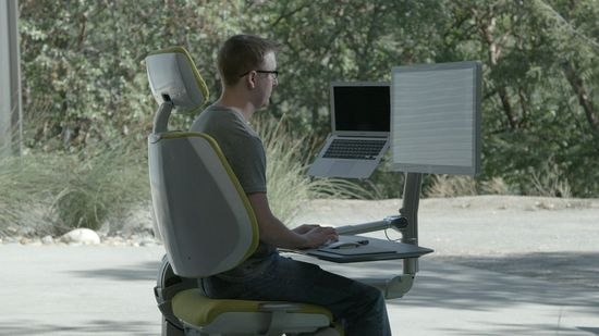 Altwork Station - At the push of a button, the desk can tweak the position of everything or fully shift back into