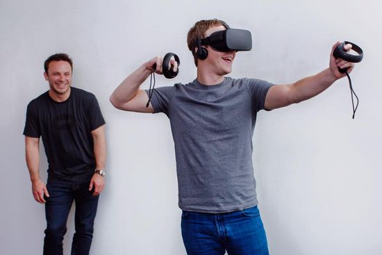 Mark Zuckerberg tests out the new Oculus Rift headset prior to launch earlier this year