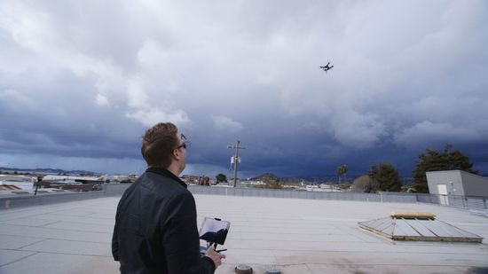 3D Robotics Guinn uses a handheld controller to fly the Solo Drone