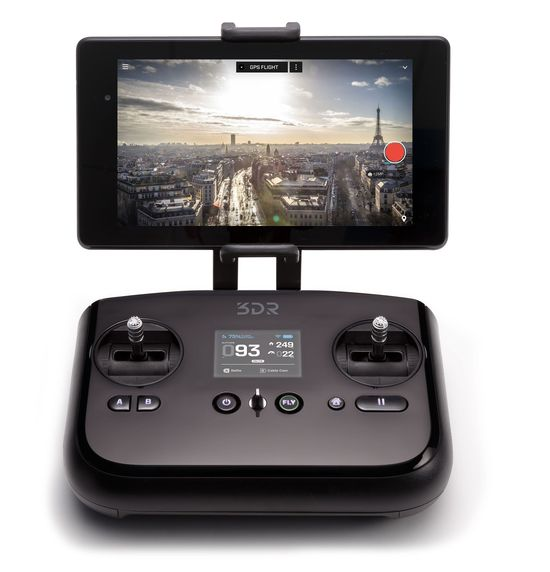 The 3D Robotics controller includes toggles to control the flight of their Solo drone and a display screen that shows what the drone's 12 megapixel camera is seeing while in flight