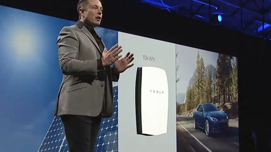 Tesla CEO Elon Musk unveils the Tesla Powerwall Battery before the press on May 1