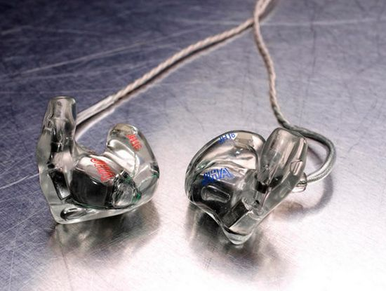 A pair of JH Audio 16 Pro in-ear headphones costing $1,149 and worn by Lady Gaga and Justin Timberlake