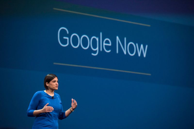Aparna Chennapragada, director of Google Now for Google Inc., speaks during the Google IO Annual Developers Conference in San Francisco, California