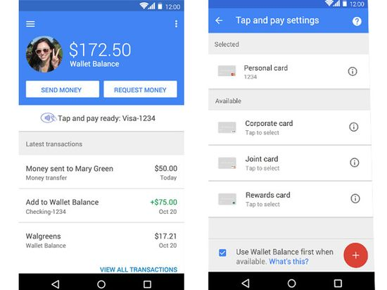 Screenshot of Google Wallet app