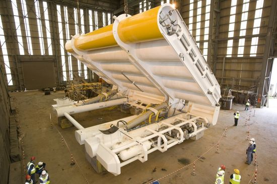 An Aquamarine Oyster Wave Energy Converter being fabricated at the Aquamarine plant