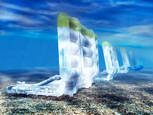 Artists concept of an Aquamarine Oyster Wave Energy Converter farm view from under the waves