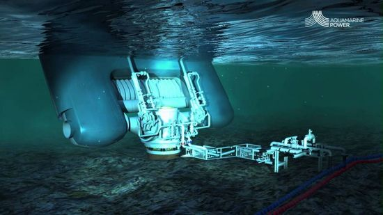 Underwater view of the Aquamarine Oyster Wave Energy Converter