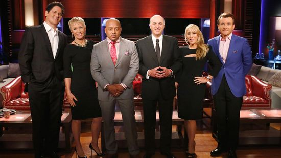 The Shark Tank cast for 2015 from L-to-R includes Mark Cuban, Barbara Corcoran, Daymond John (FUBU founder), Kevin O'Leary, Lori Greiner and Robert Herjavec
