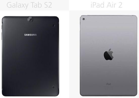 Samsung Galaxy Tab S2 vs Apple iPad Air 2 (rear view)