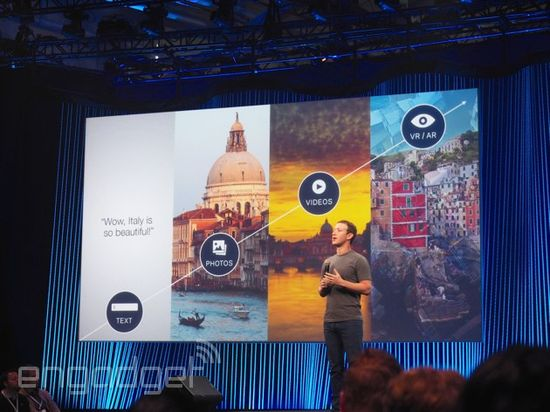 Mark Zuckerberg discusses spherical 360-degree video at F8 developers conference in March 2015