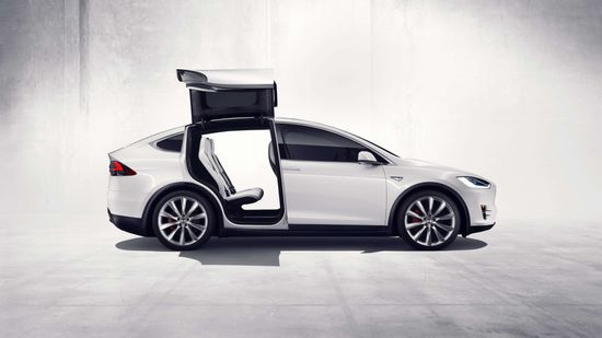 Tesla Model X all-electric SUV with gull wing rear doors 2