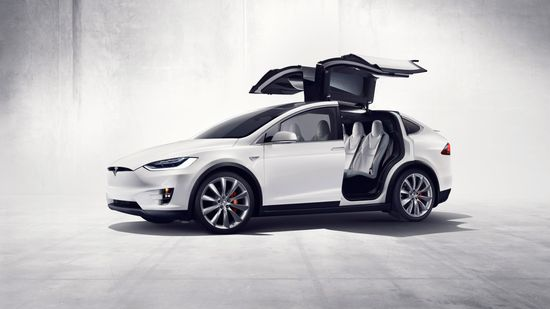 Tesla Model X all-electric SUV with gull wing rear doors