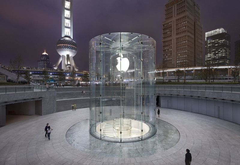 The Apple store in Shanghai's Pudong district is one of its most stunning. A glass cylinder leads to the main part of the store, situated underneath the courtyard