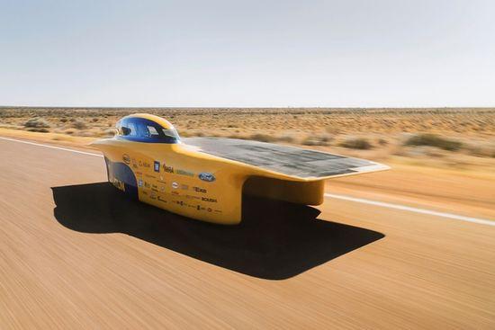 The University of Michigan's Aurum solar car features an asymmetrical catamaran body