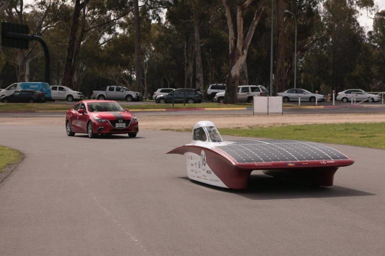 Stanford University's Arctan solar car during a test run