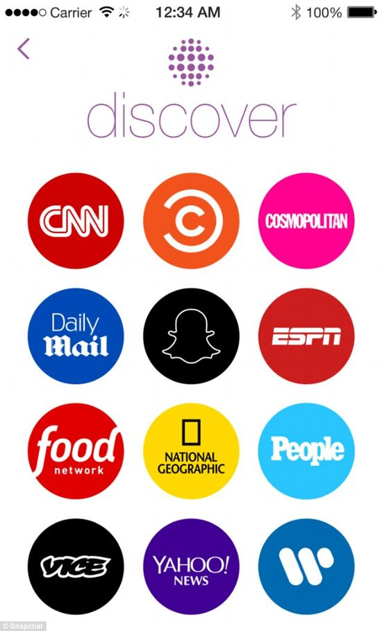 In January 2015, Snapchat partnered with several major media companies to provide in-app news content