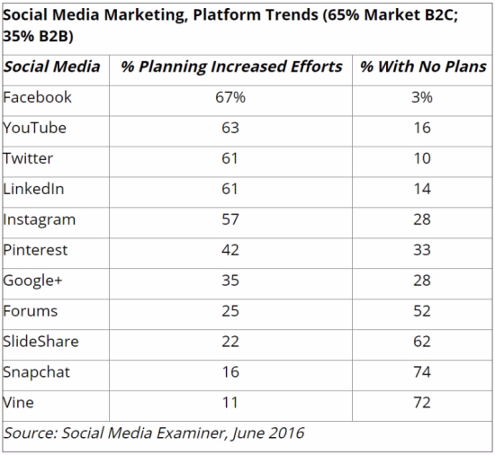Social Media Marketinhg, Platform Trends - Social Media Examiner, June 2016