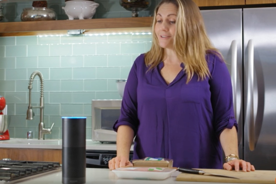 Baby Boomer using an Amazon Echo assistant