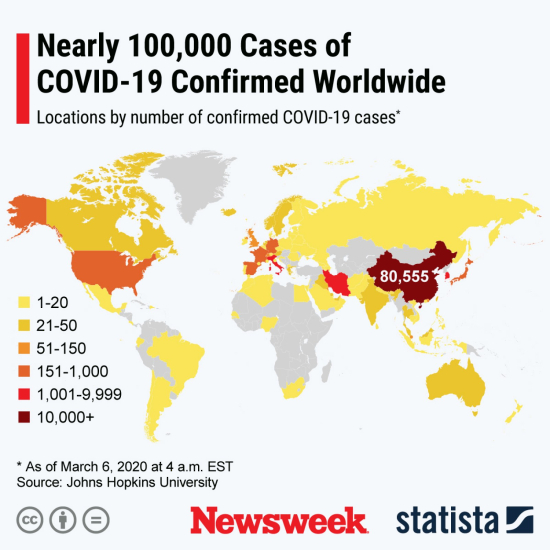 Corona Virus Cases Worldwide Hit 100K