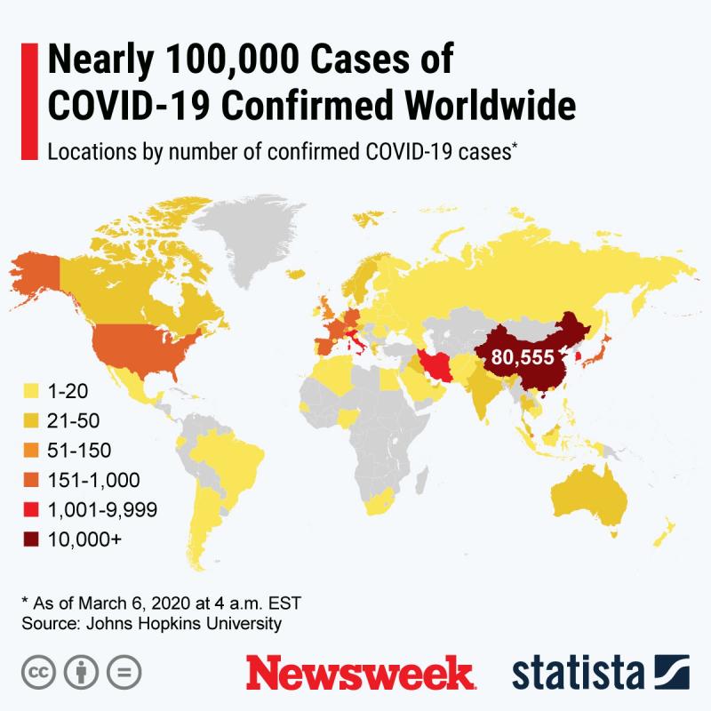 Corona Virus Cases Worldwide Hit 100K