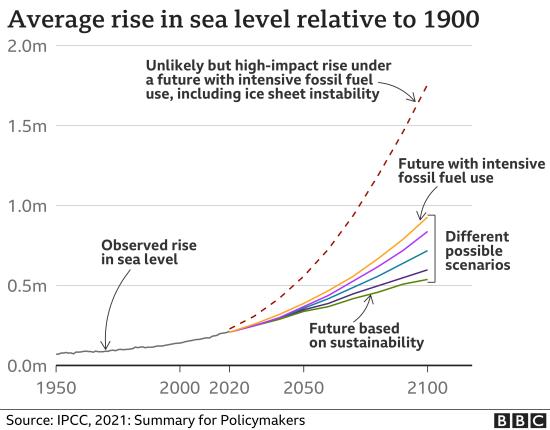 Average rise in sea level relative to 1900