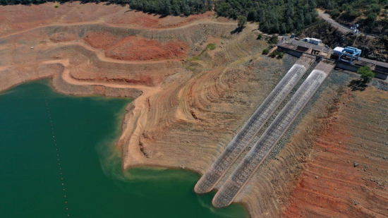 Drought in California has seen water levels in Lake Oroville drop to record lows